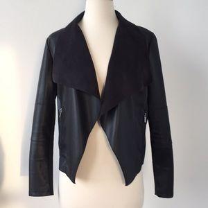 Vegan Faux Leather Suede Moto Jacket Black XS